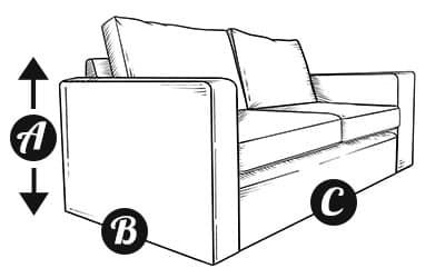 2.5 seater sofa diagram