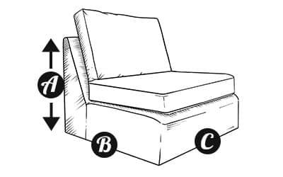Sofa armless section diagram
