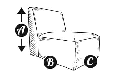 Modular Armless section Sofa Diagram