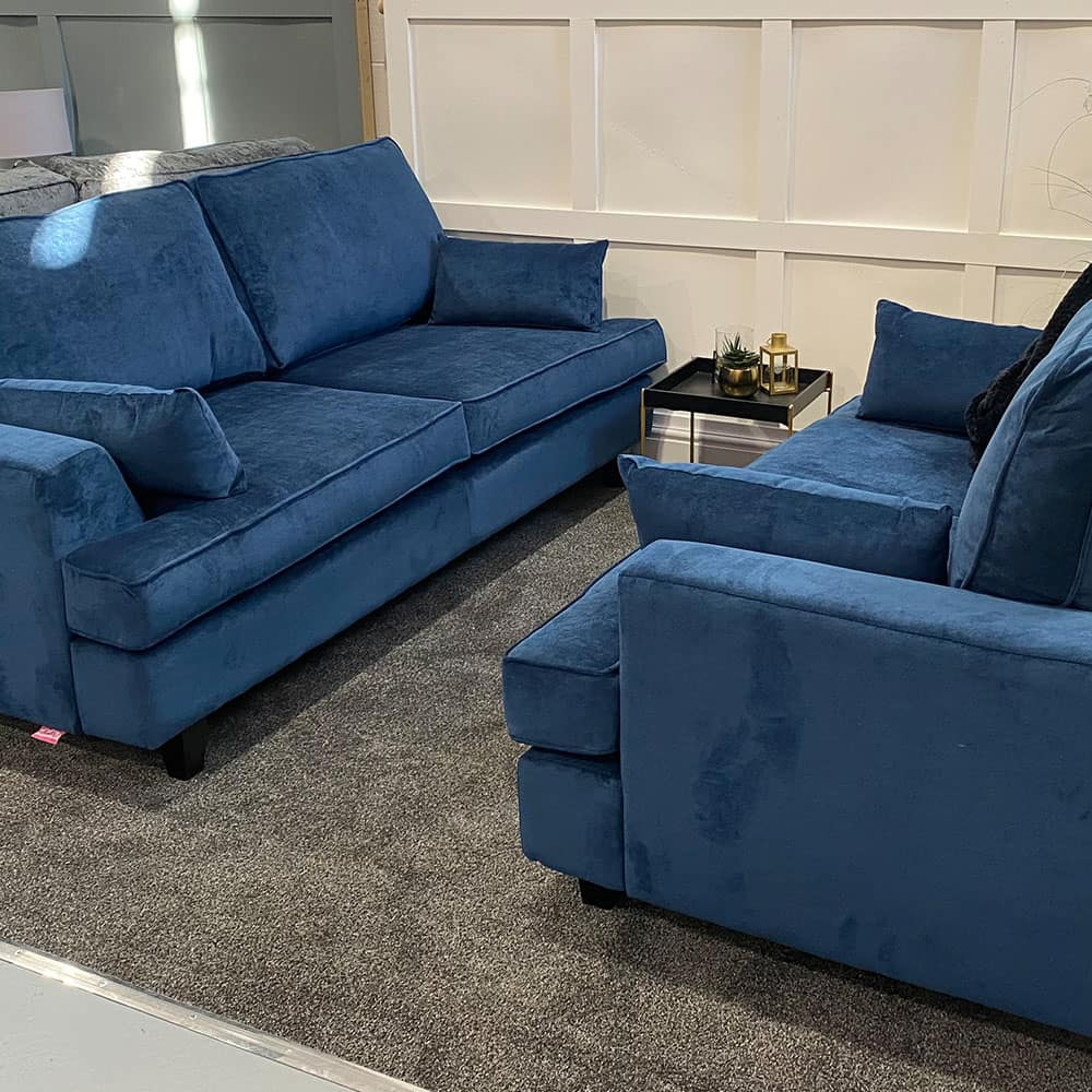 The Helvellyn, 3 & 2 Seater in Danza, Navy with Lumbars, Stock Set